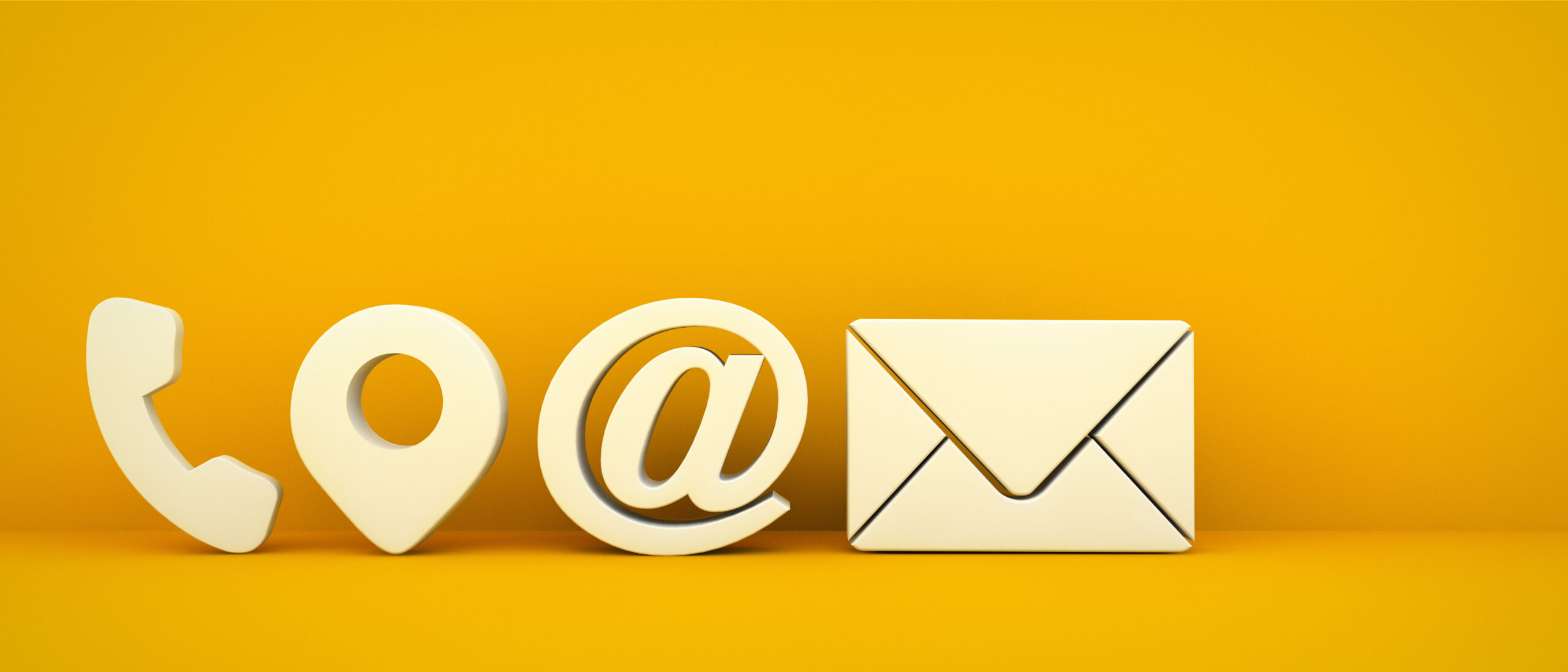 Business contact icons on yellow background 3d rendering